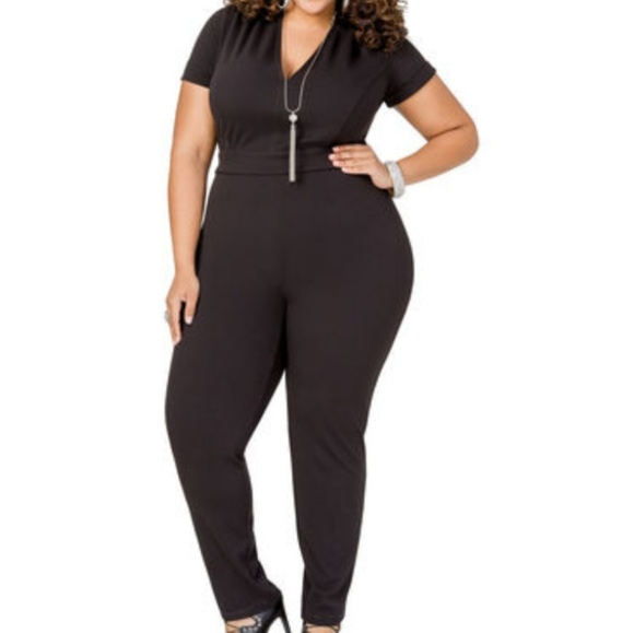 Ashley Stewart Pants Plus Size 24 Black Jumpsuit Deep V Poshmark